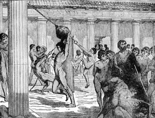 Античный рисунок воинов