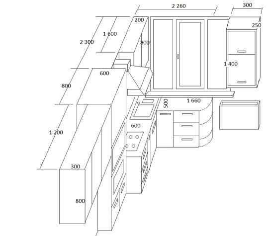 Эскиз будущей кухонной мебели