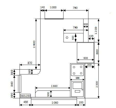 Схема расположения мебели в кухне